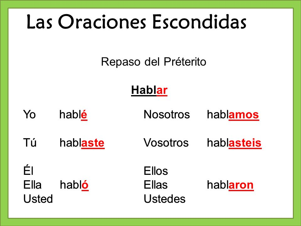 Las Oraciones Escondidas