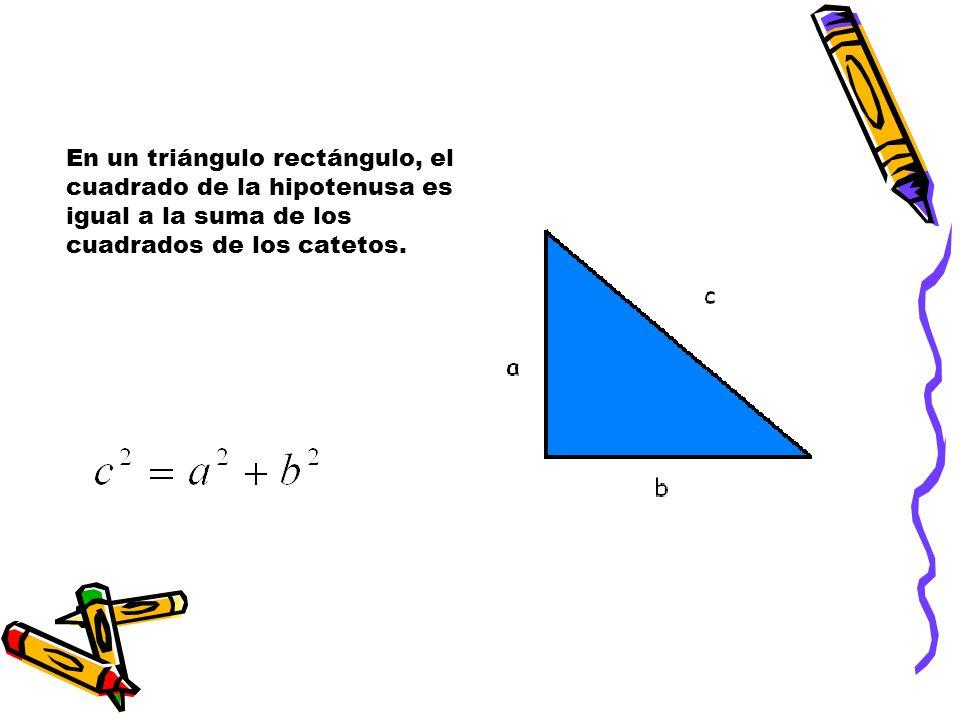 En un triángulo rectángulo, el cuadrado de la hipotenusa es igual a la suma de los cuadrados de los catetos.