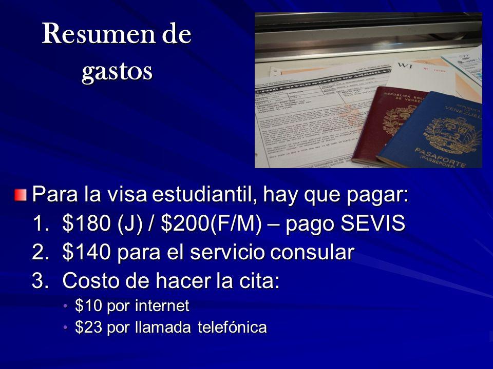 Resumen de gastos Para la visa estudiantil, hay que pagar: