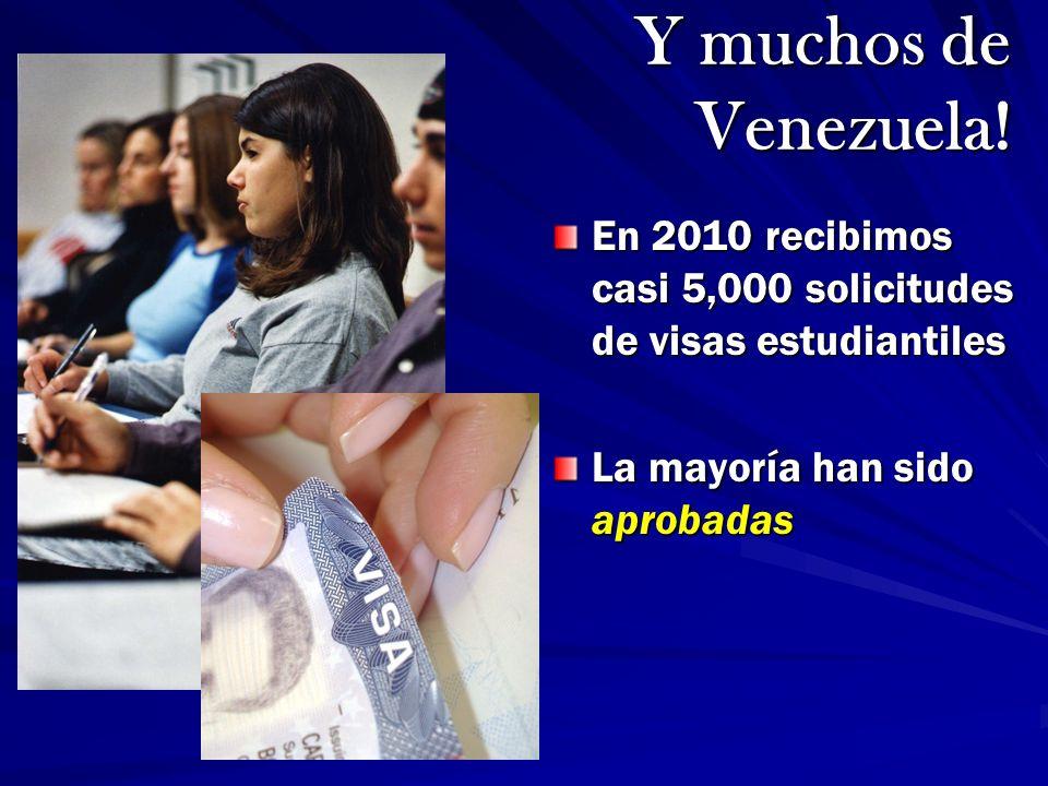 Y muchos de Venezuela! En 2010 recibimos casi 5,000 solicitudes de visas estudiantiles. La mayoría han sido aprobadas.
