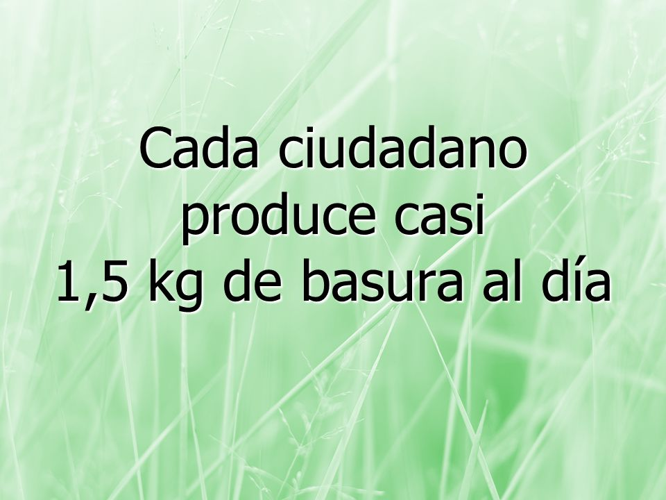 Cada ciudadano produce casi 1,5 kg de basura al día