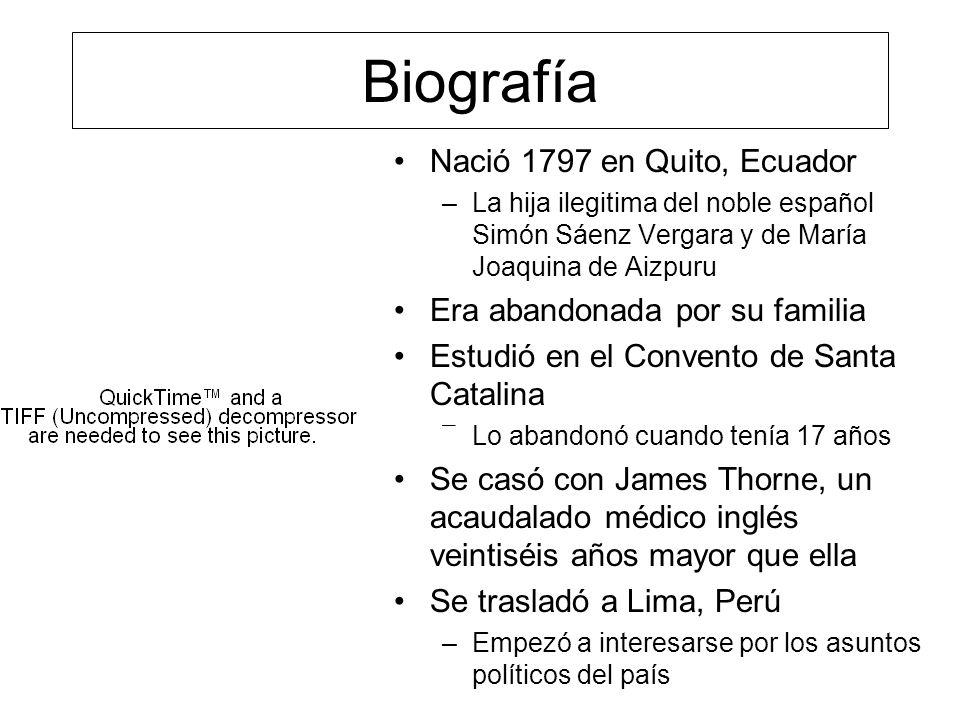 Biografía Nació 1797 en Quito, Ecuador Era abandonada por su familia