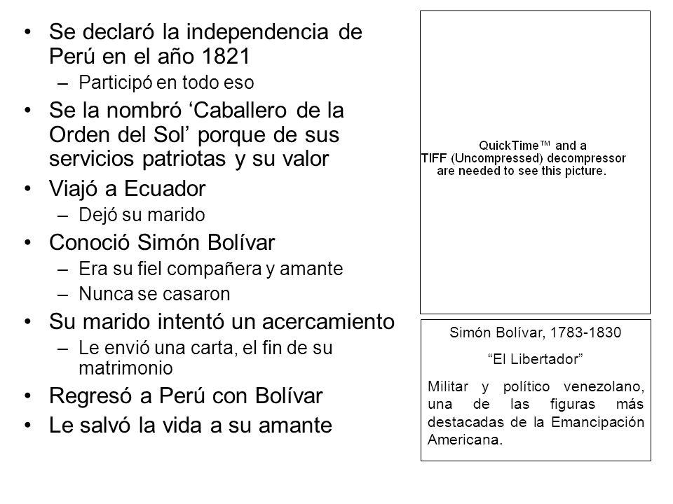Se declaró la independencia de Perú en el año 1821