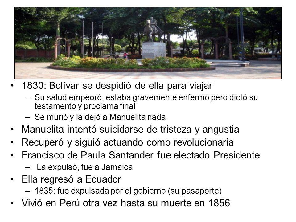 1830: Bolívar se despidió de ella para viajar