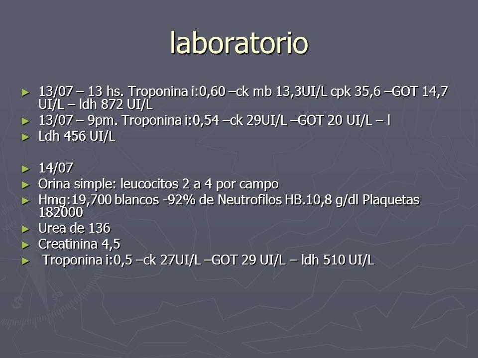 laboratorio 13/07 – 13 hs. Troponina i:0,60 –ck mb 13,3UI/L cpk 35,6 –GOT 14,7 UI/L – ldh 872 UI/L.