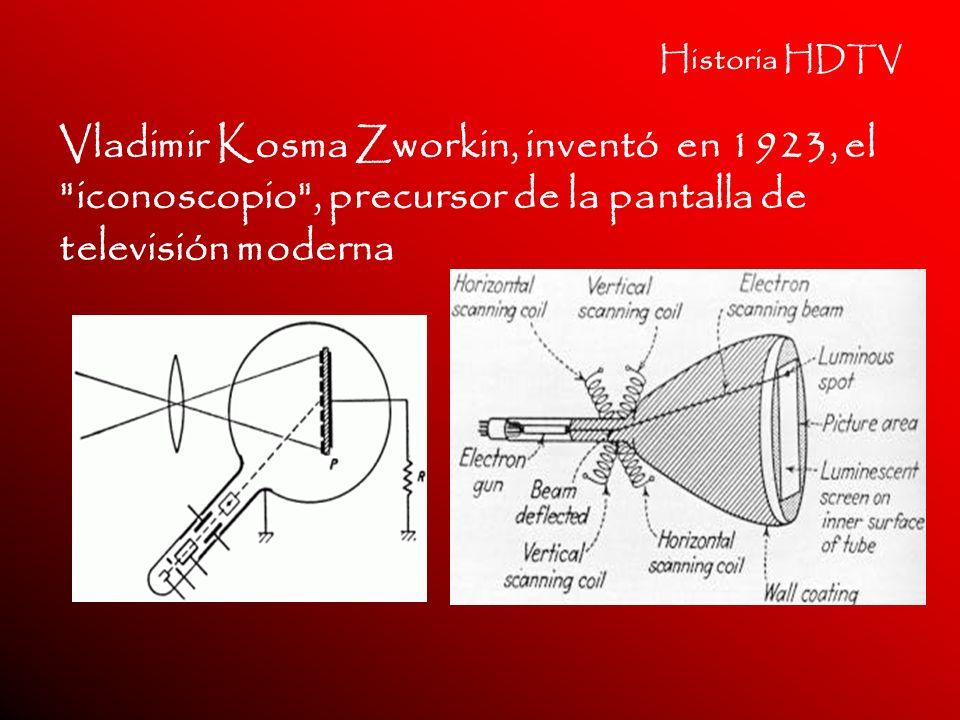 Historia HDTV Vladimir Kosma Zworkin, inventó en 1923, el iconoscopio , precursor de la pantalla de televisión moderna.