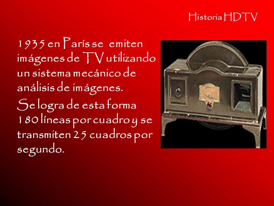 Historia HDTV 1935 en París se emiten imágenes de TV utilizando un sistema mecánico de análisis de imágenes.