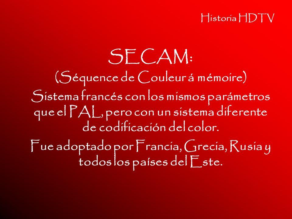 SECAM: (Séquence de Couleur á mémoire)