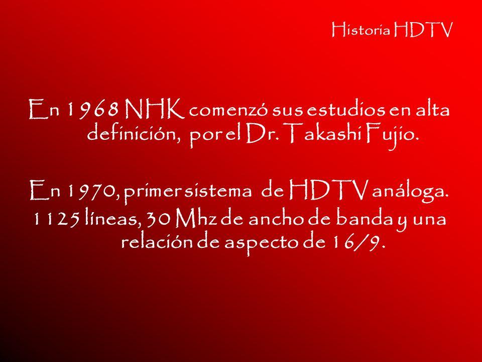 En 1970, primer sistema de HDTV análoga.