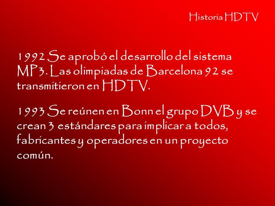 Historia HDTV 1992 Se aprobó el desarrollo del sistema MP3. Las olimpiadas de Barcelona 92 se transmitieron en HDTV.