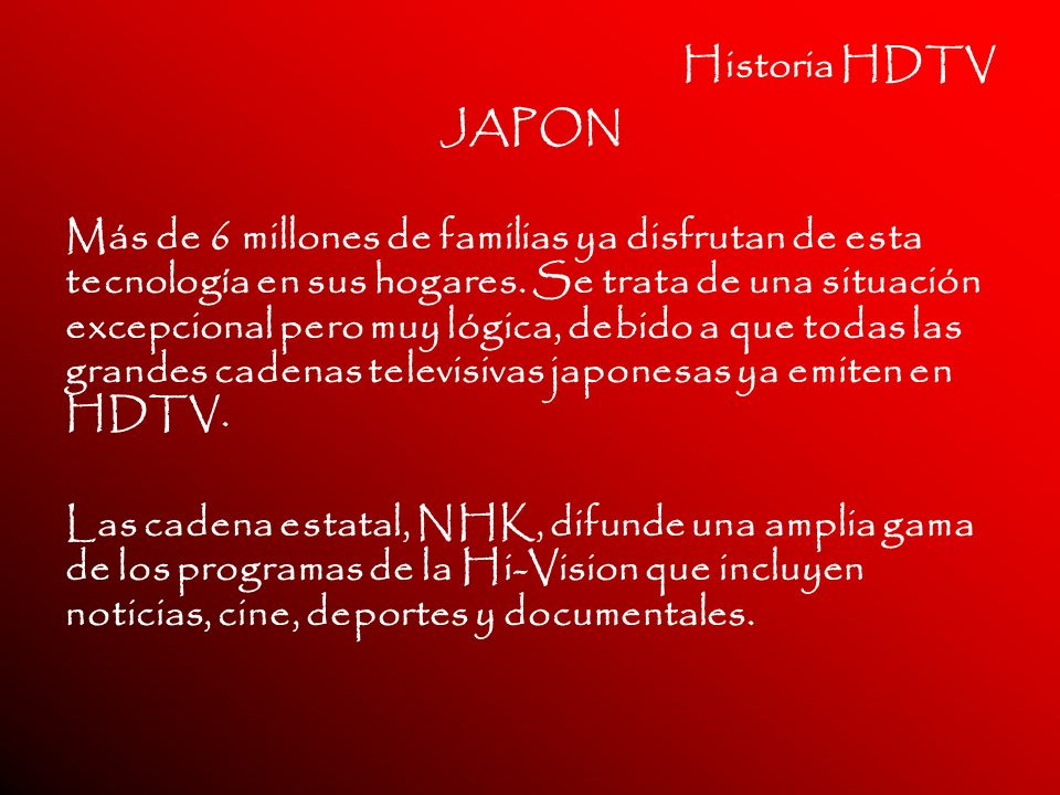 Historia HDTV JAPON.