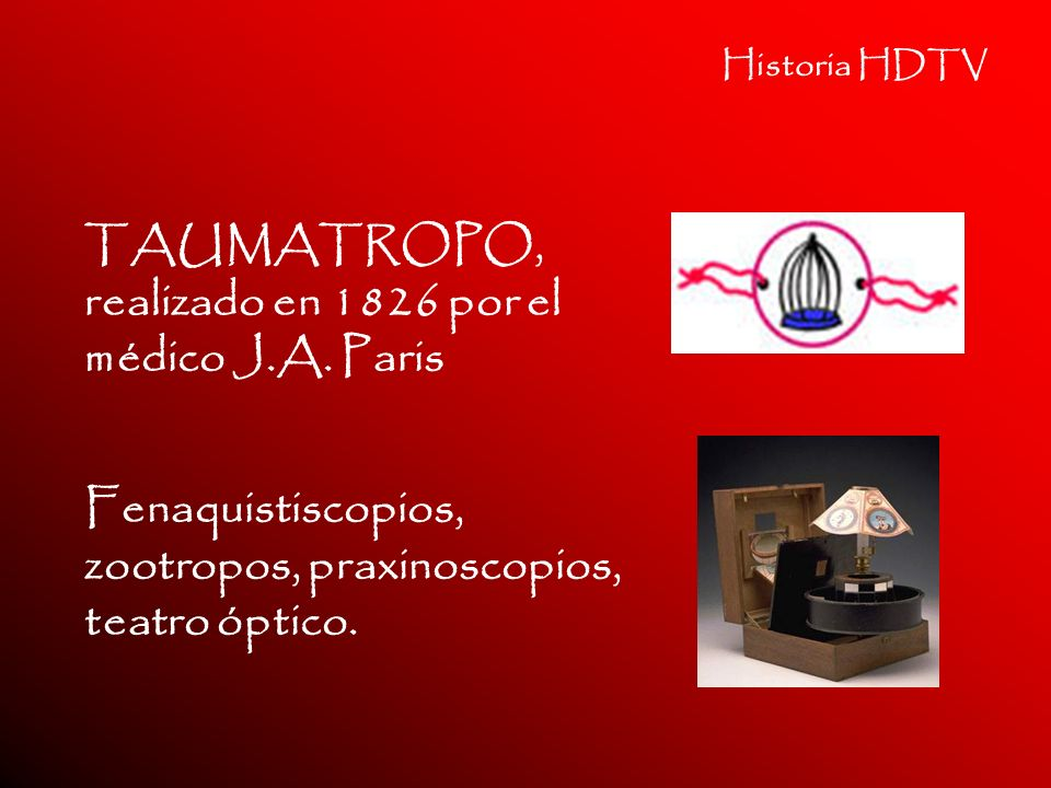TAUMATROPO, realizado en 1826 por el médico J.A. Paris