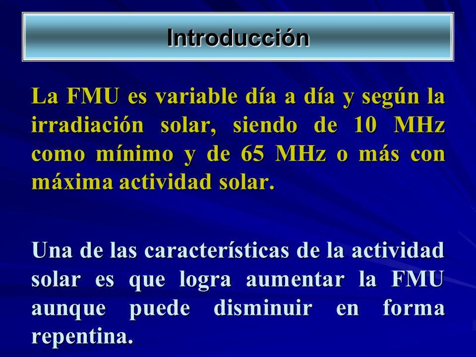 Introducción La FMU es variable día a día y según la irradiación solar, siendo de 10 MHz como mínimo y de 65 MHz o más con máxima actividad solar.