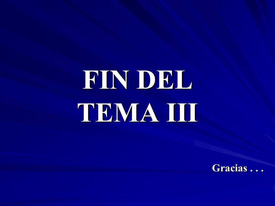 FIN DEL TEMA III Gracias . . .