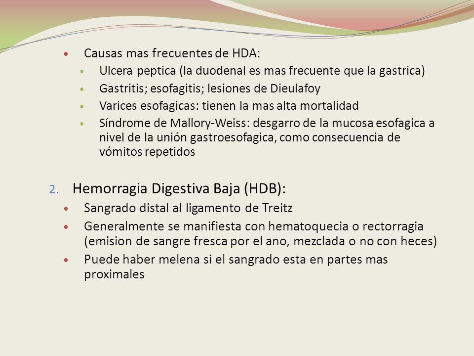 Hemorragia Digestiva Baja (HDB):
