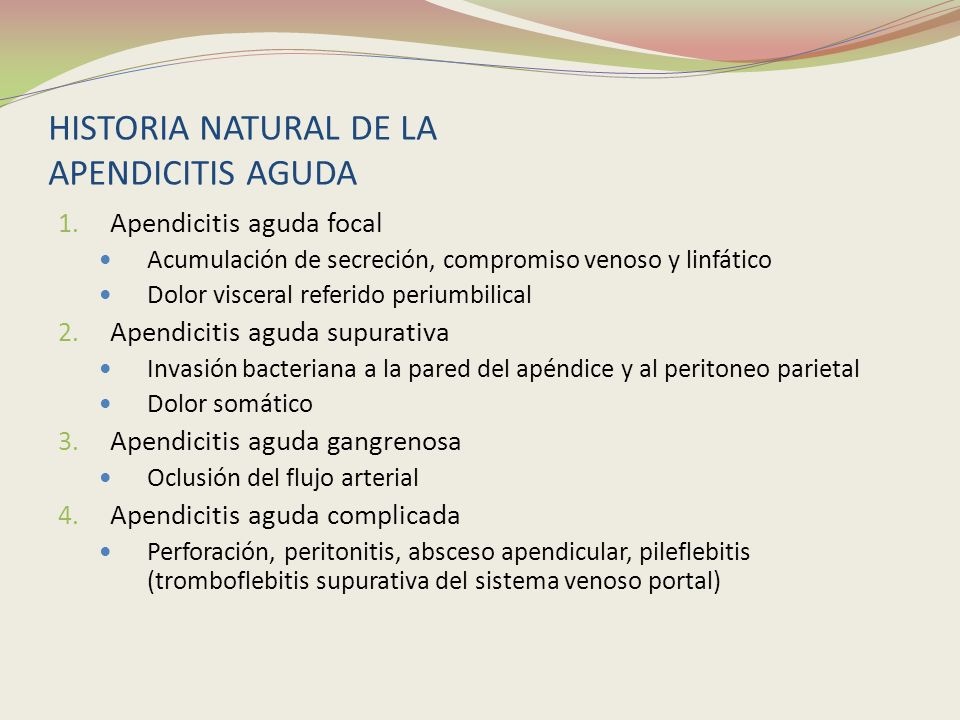 HISTORIA NATURAL DE LA APENDICITIS AGUDA