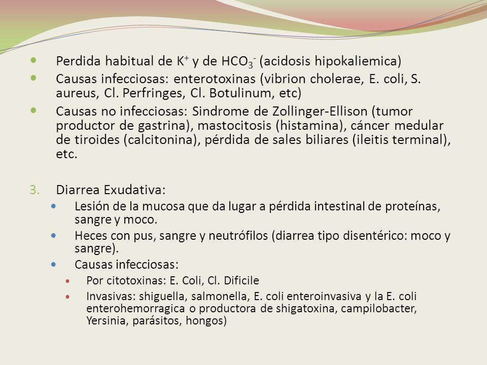 Perdida habitual de K+ y de HCO3- (acidosis hipokaliemica)
