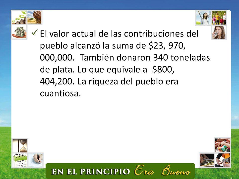 El valor actual de las contribuciones del pueblo alcanzó la suma de $23, 970, 000,000.