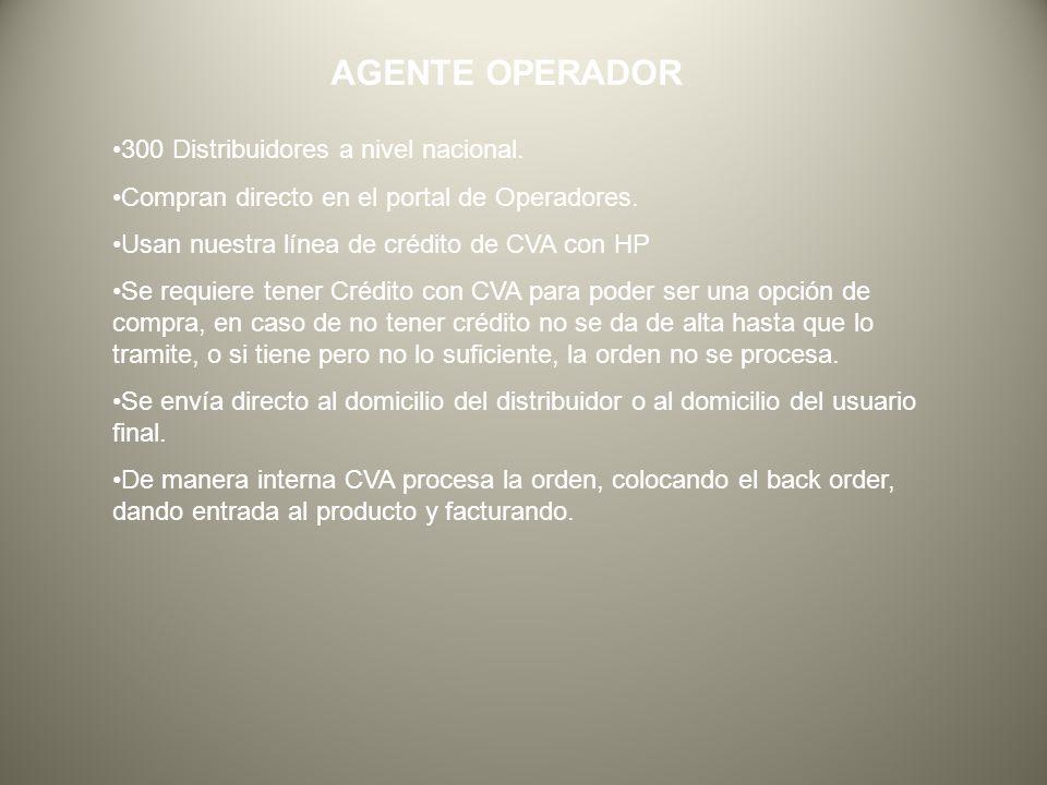 AGENTE OPERADOR 300 Distribuidores a nivel nacional.