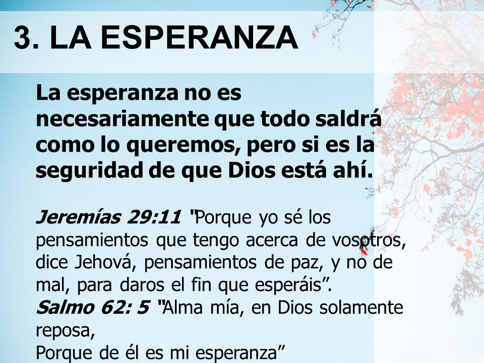 3. LA ESPERANZA La esperanza no es necesariamente que todo saldrá como lo queremos, pero si es la seguridad de que Dios está ahí.