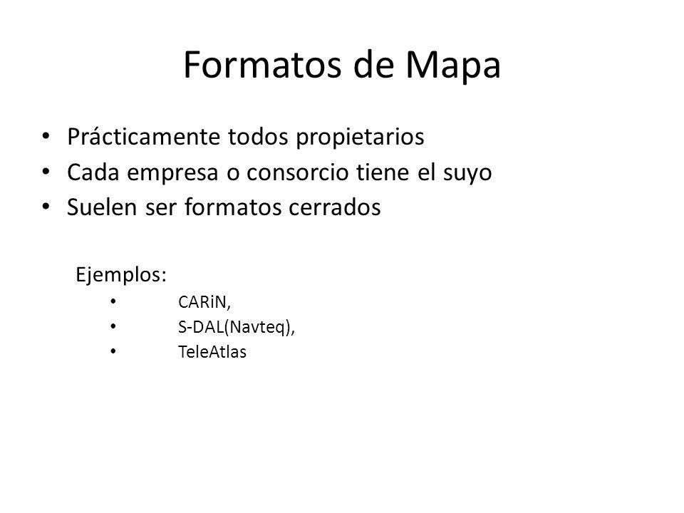 Formatos de Mapa Prácticamente todos propietarios