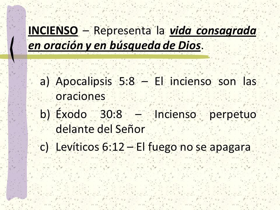 INCIENSO – Representa la vida consagrada en oración y en búsqueda de Dios.