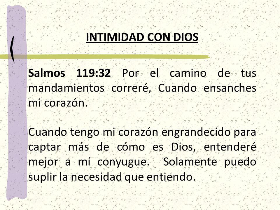 INTIMIDAD CON DIOS Salmos 119:32 Por el camino de tus mandamientos correré, Cuando ensanches mi corazón.