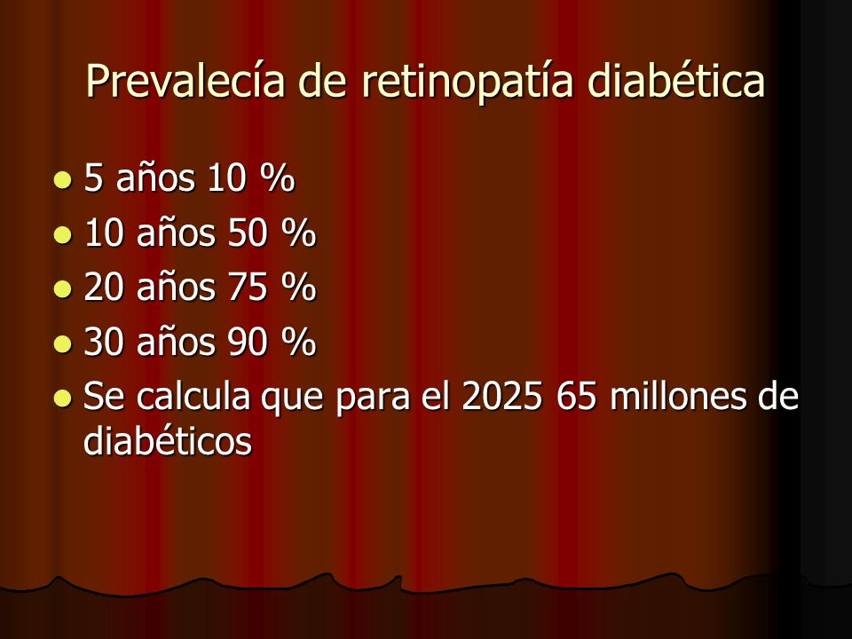 Prevalecía de retinopatía diabética