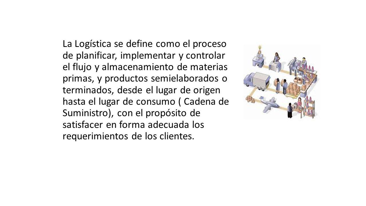 La Logística se define como el proceso de planificar, implementar y controlar el flujo y almacenamiento de materias primas, y productos semielaborados o terminados, desde el lugar de origen hasta el lugar de consumo ( Cadena de Suministro), con el propósito de satisfacer en forma adecuada los requerimientos de los clientes.