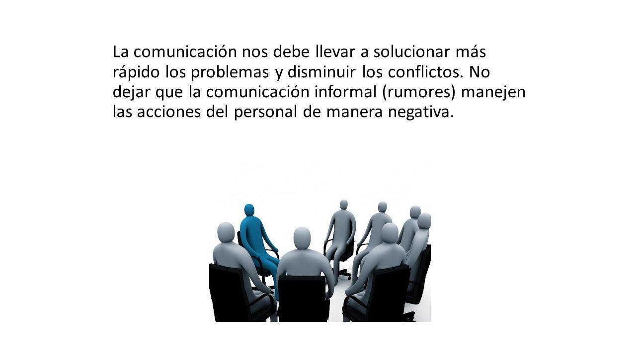 La comunicación nos debe llevar a solucionar más rápido los problemas y disminuir los conflictos.