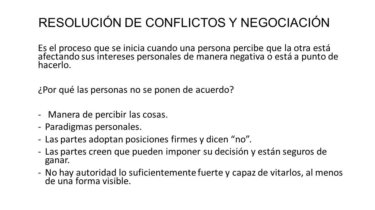RESOLUCIÓN DE CONFLICTOS Y NEGOCIACIÓN