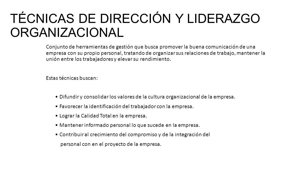 TÉCNICAS DE DIRECCIÓN Y LIDERAZGO ORGANIZACIONAL