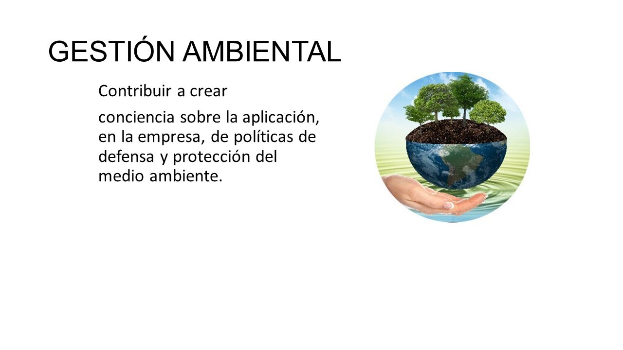 GESTIÓN AMBIENTAL Contribuir a crear conciencia sobre la aplicación, en la empresa, de políticas de defensa y protección del medio ambiente.