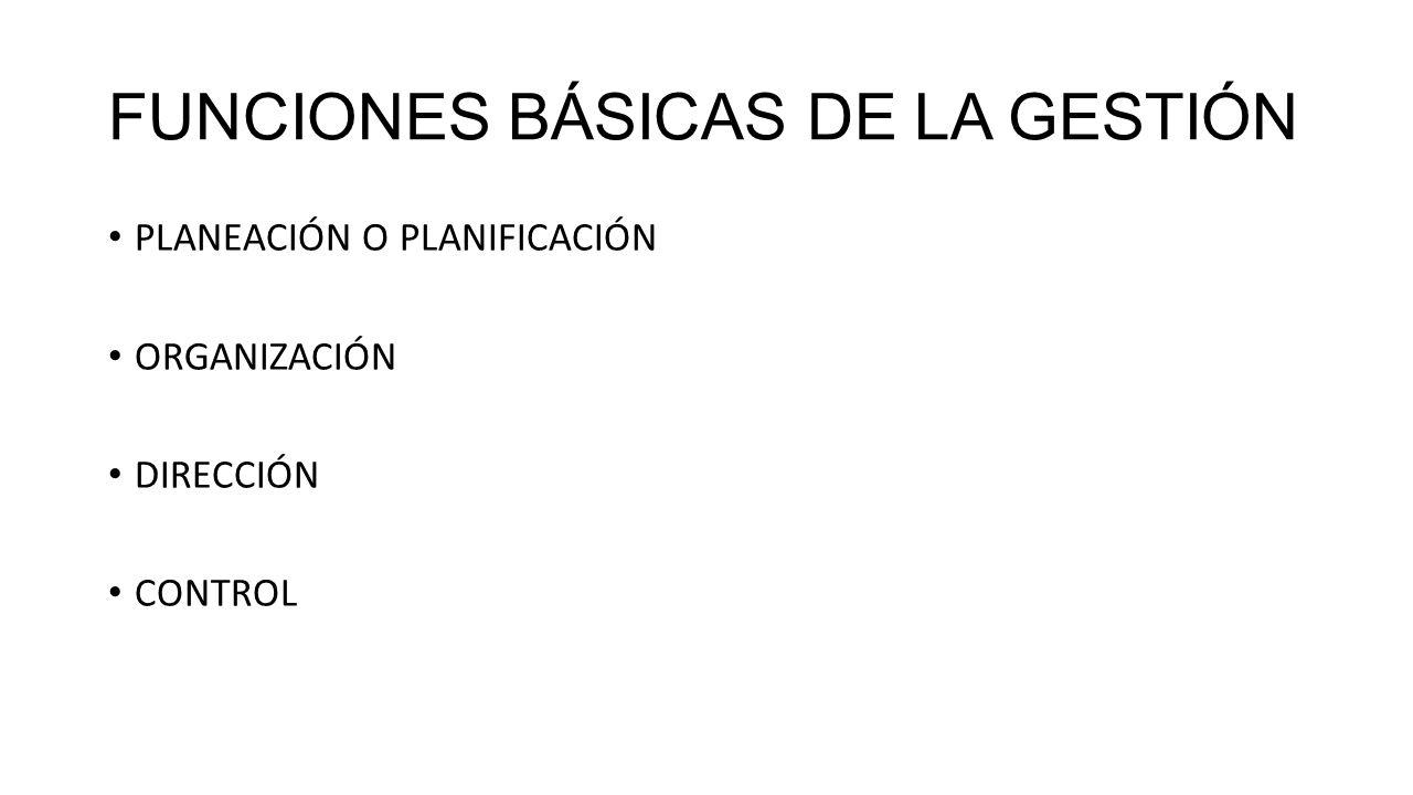 FUNCIONES BÁSICAS DE LA GESTIÓN