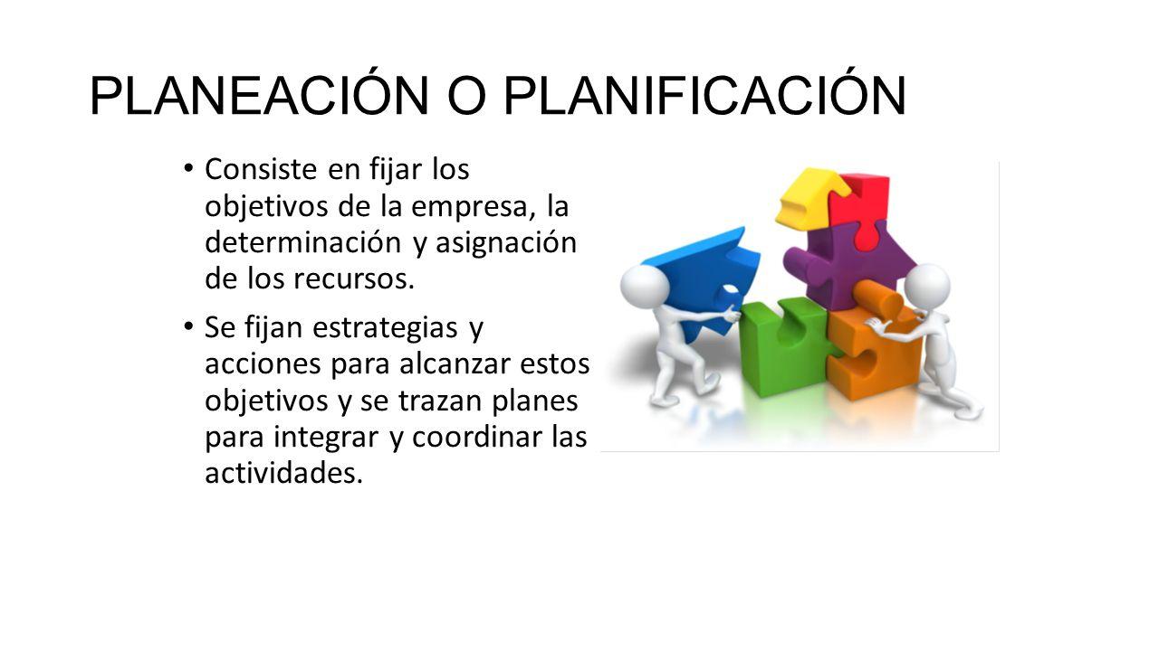 PLANEACIÓN O PLANIFICACIÓN