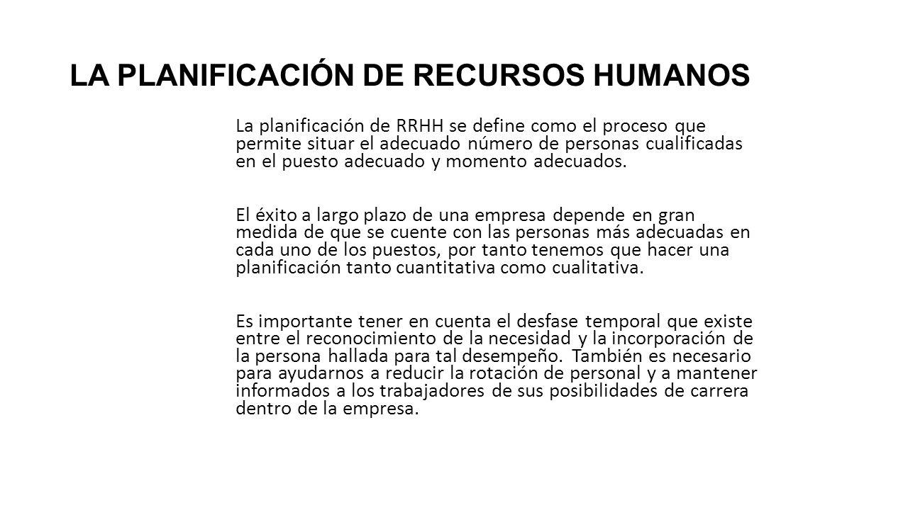LA PLANIFICACIÓN DE RECURSOS HUMANOS