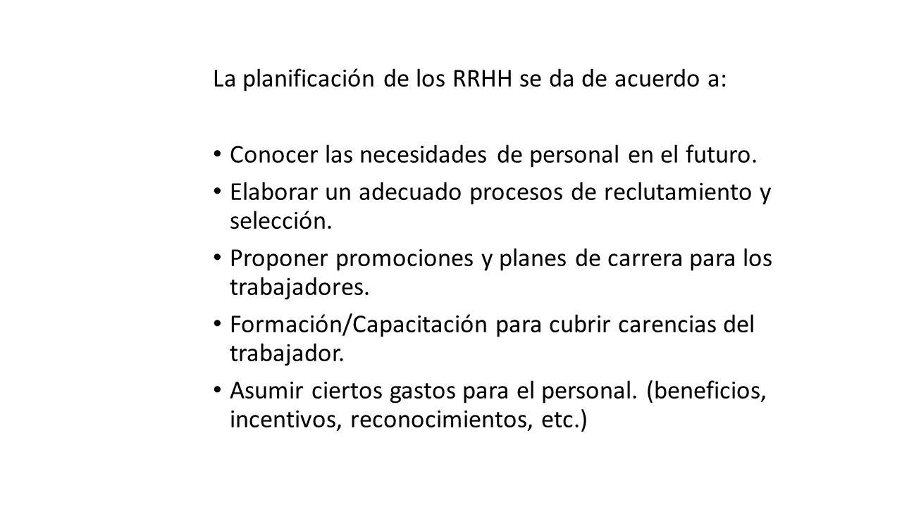 La planificación de los RRHH se da de acuerdo a: