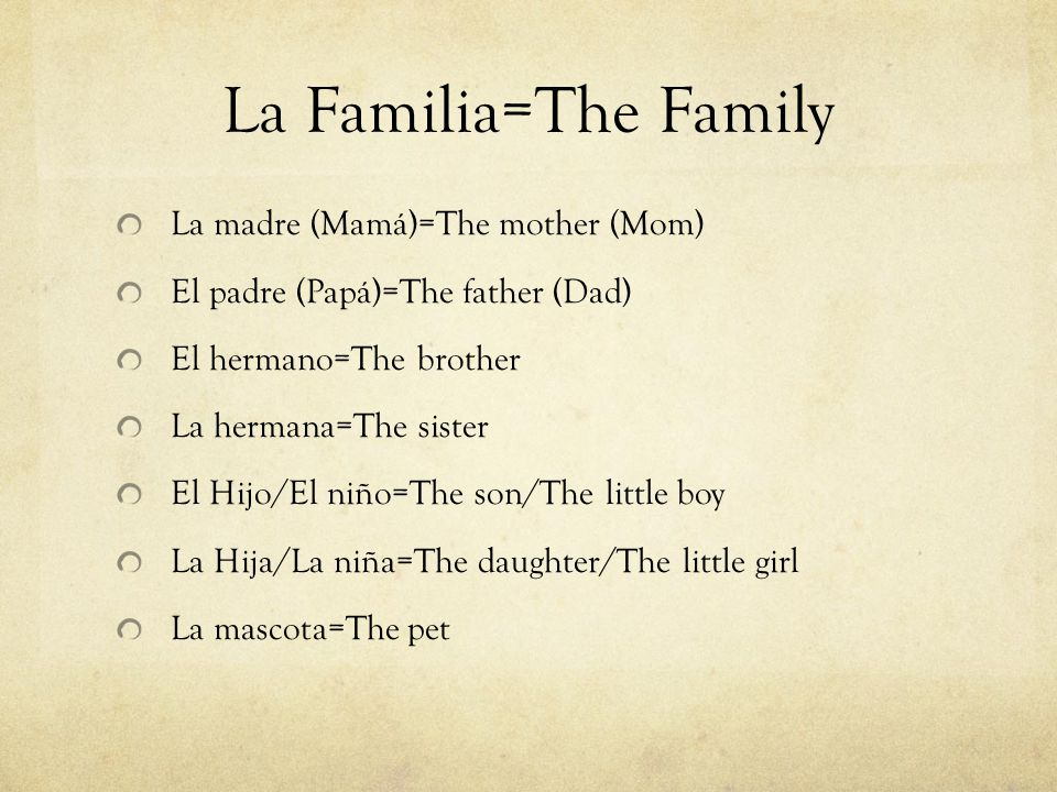 La Familia=The Family La madre (Mamá)=The mother (Mom)