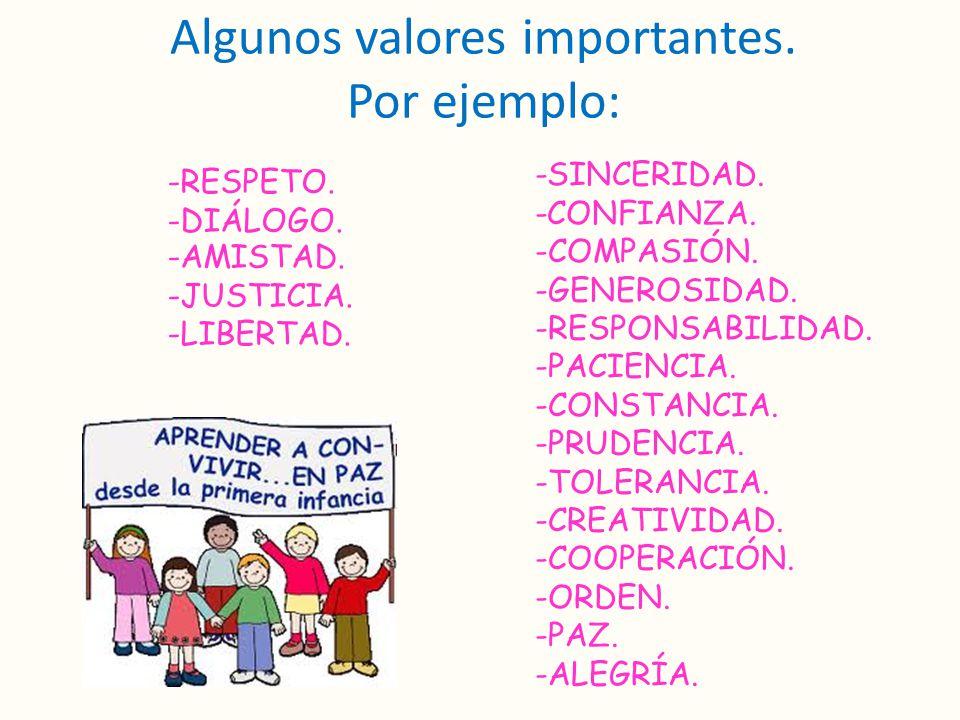 Algunos valores importantes. Por ejemplo:
