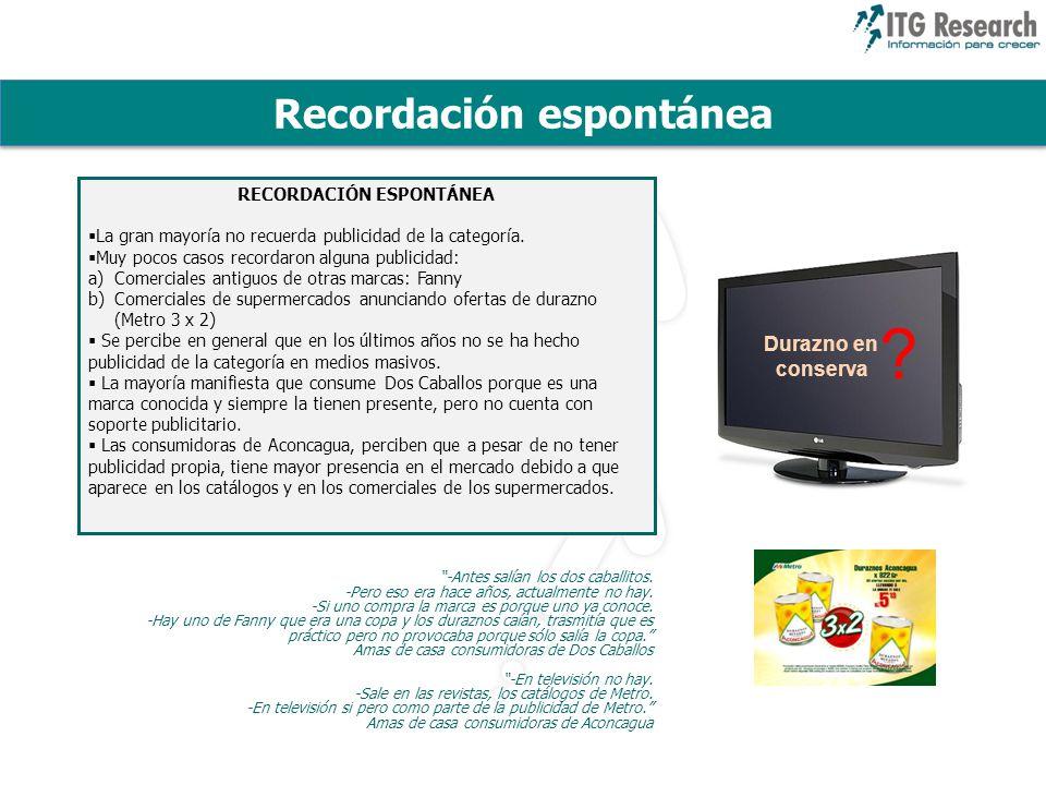 Recordación espontánea RECORDACIÓN ESPONTÁNEA