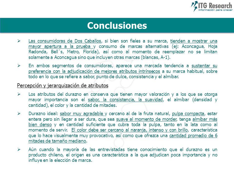 Conclusiones Percepción y jerarquización de atributos
