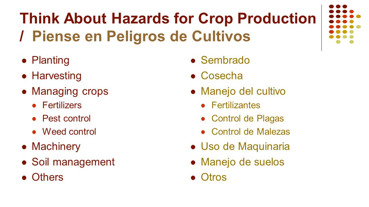 Think About Hazards for Crop Production / Piense en Peligros de Cultivos