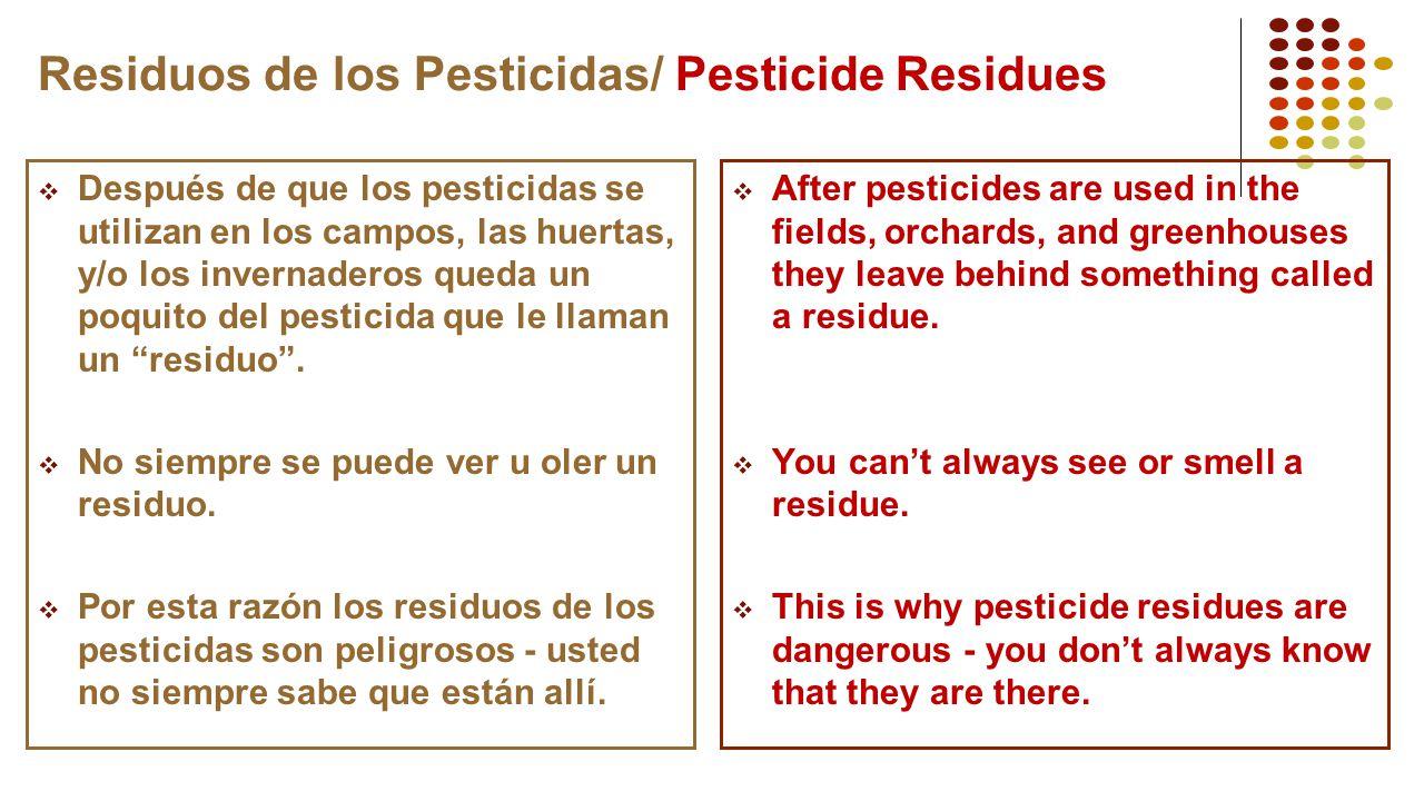 Residuos de los Pesticidas/ Pesticide Residues