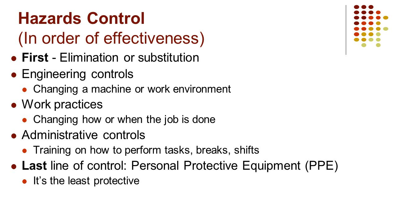 Hazards Control (In order of effectiveness)