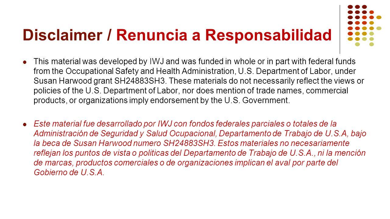 Disclaimer / Renuncia a Responsabilidad