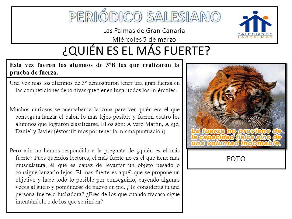 PERIÓDICO SALESIANO Las Palmas de Gran Canaria Miércoles 5 de marzo