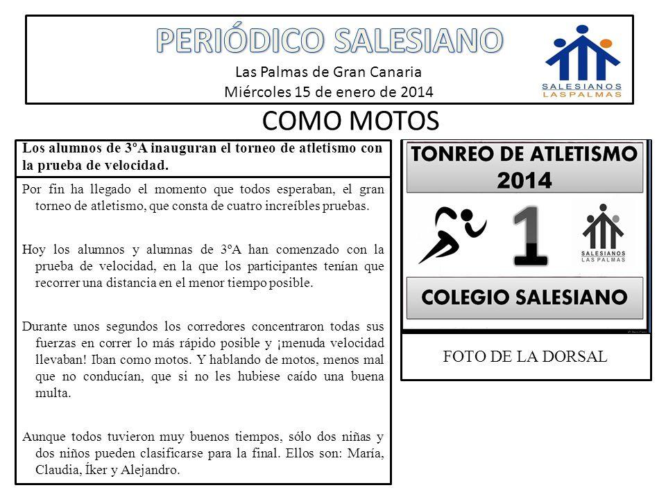 PERIÓDICO SALESIANO Las Palmas de Gran Canaria Miércoles 15 de enero de 2014