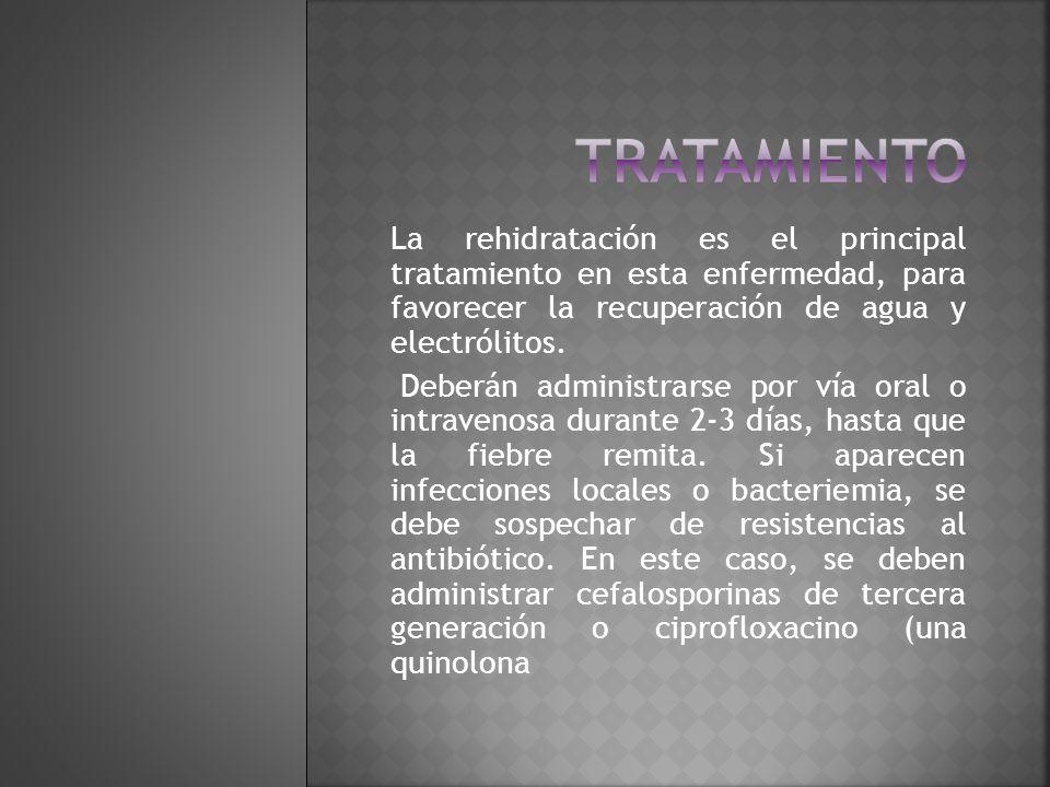 tratamiento La rehidratación es el principal tratamiento en esta enfermedad, para favorecer la recuperación de agua y electrólitos.