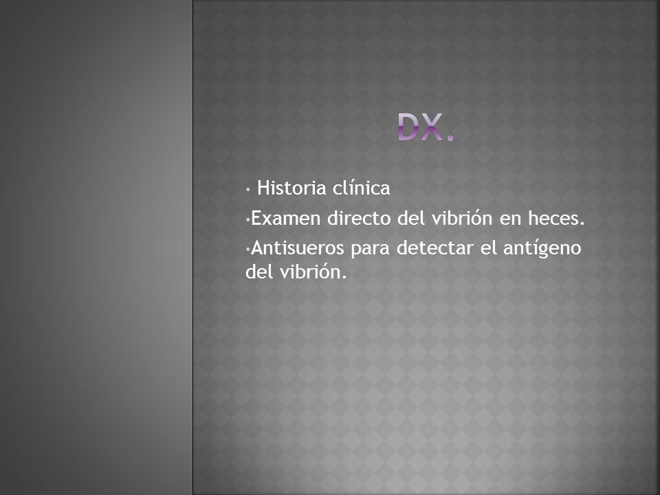 dx. Historia clínica Examen directo del vibrión en heces.