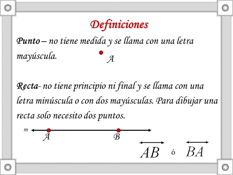 Definiciones Punto – no tiene medida y se llama con una letra